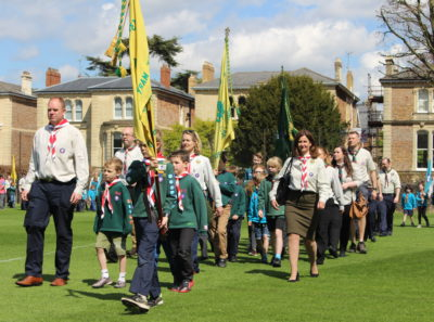 43rd Bristol Scout Group Lead the Cabot District St George's Day Parade