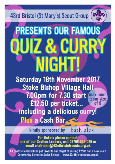 Save the date. Our famous Quiz & Curry Night Returns on Sat 18 November 2017